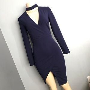 Dresses & Skirts - Choker navy blue high low dress Xs